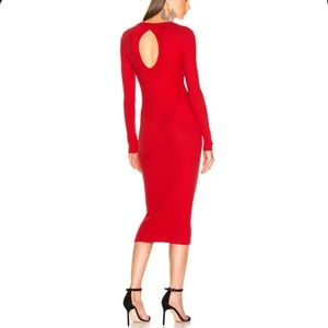 Enza Costa sexy red ribbed midi dress